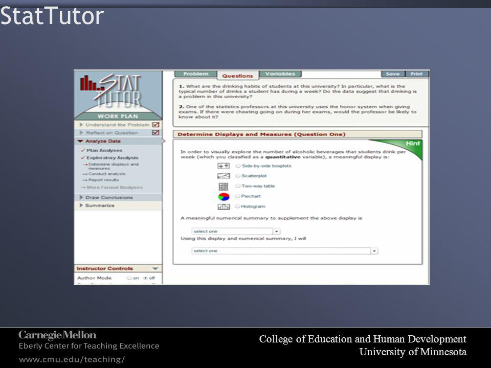 College of Education and Human Development University of Minnesota StatTutor