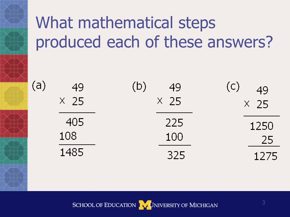 14 Using the development of measures to refine theory of mathematical knowledge for teaching Which of these can be interpreted as a representation of 3/4?