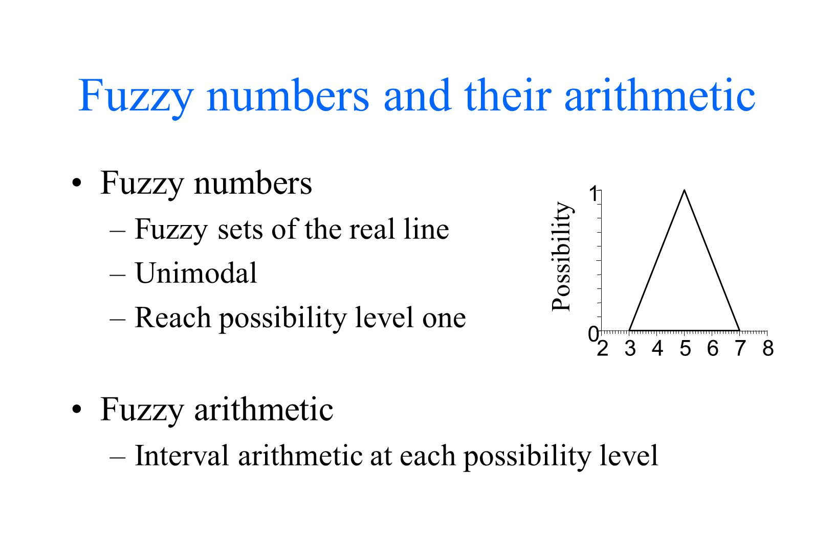 Fuzzy numbers and their arithmetic Fuzzy numbers –Fuzzy sets of the real line –Unimodal –Reach possibility level one Fuzzy arithmetic –Interval arithmetic at each possibility level 2345678 0 1 Possibility