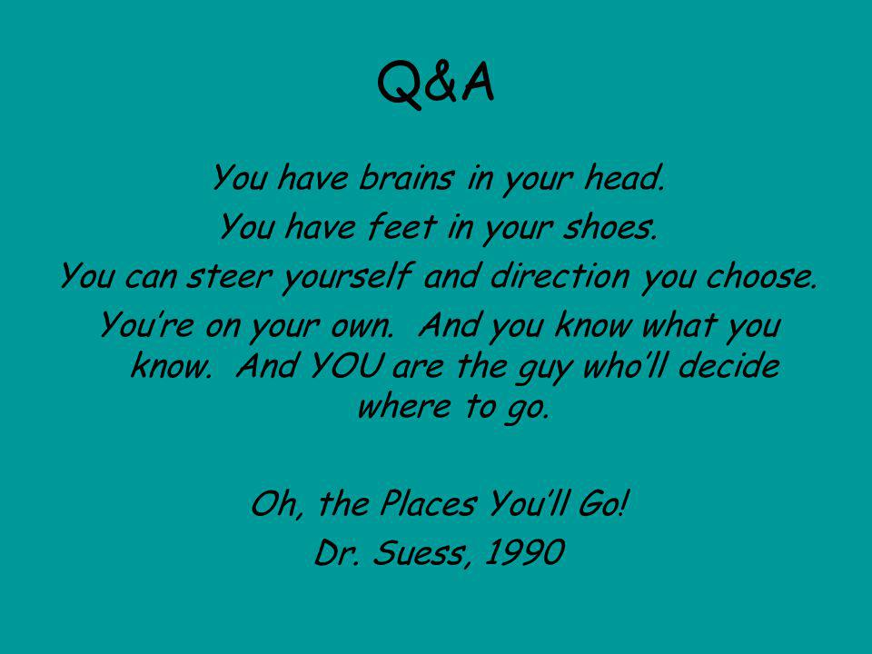 Q&A You have brains in your head. You have feet in your shoes.
