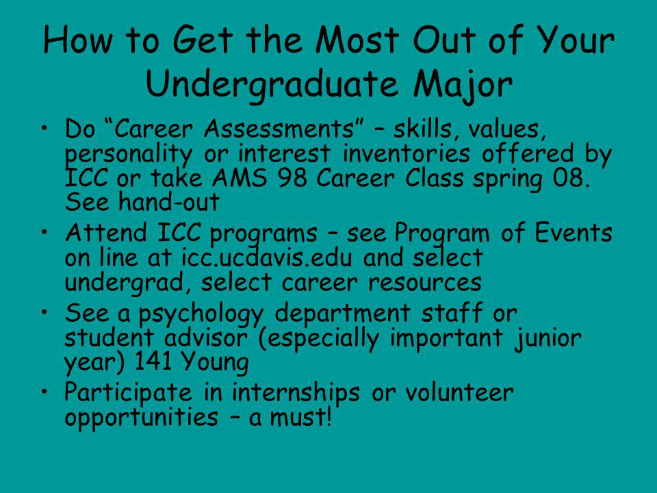 How to Get the Most Out of Your Undergraduate Major Do Career Assessments – skills, values, personality or interest inventories offered by ICC or take AMS 98 Career Class spring 08.