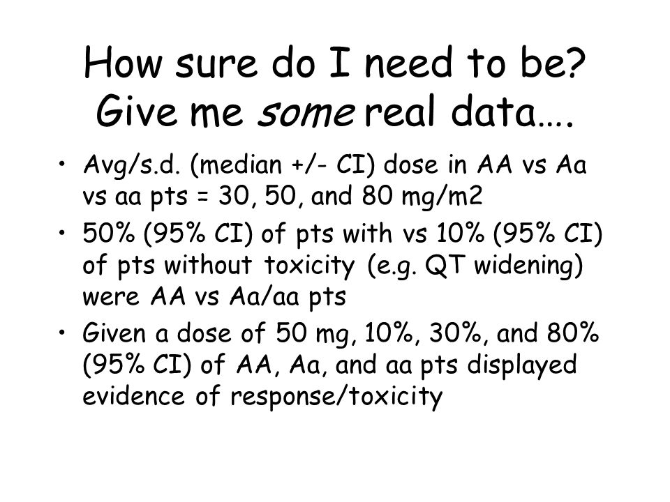 How sure do I need to be. Give me some real data….