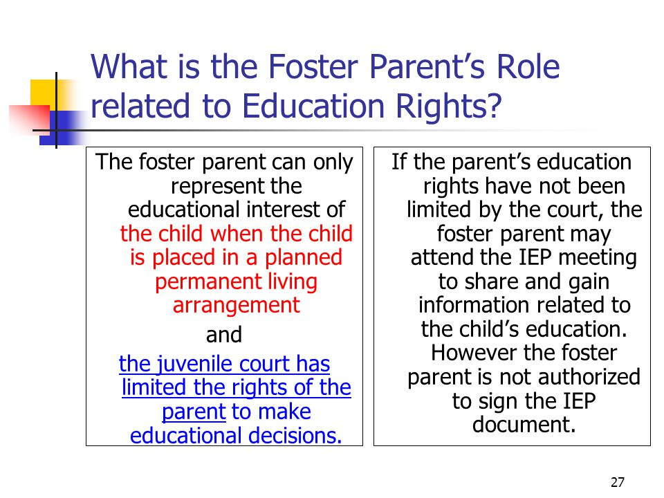 27 What is the Foster Parent's Role related to Education Rights.