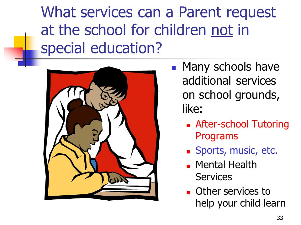 33 What services can a Parent request at the school for children not in special education.