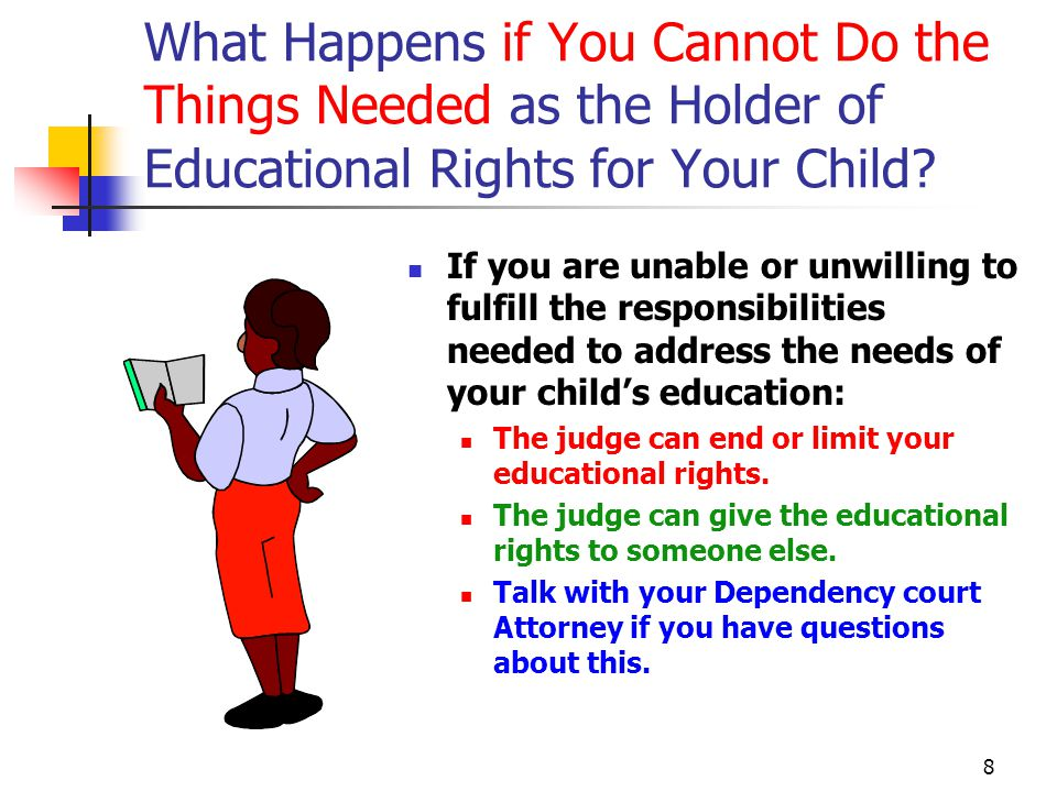 8 What Happens if You Cannot Do the Things Needed as the Holder of Educational Rights for Your Child.