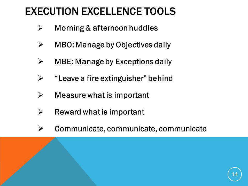 EXECUTION EXCELLENCE TOOLS  Morning & afternoon huddles  MBO: Manage by Objectives daily  MBE: Manage by Exceptions daily  Leave a fire extinguisher behind  Measure what is important  Reward what is important  Communicate, communicate, communicate 14