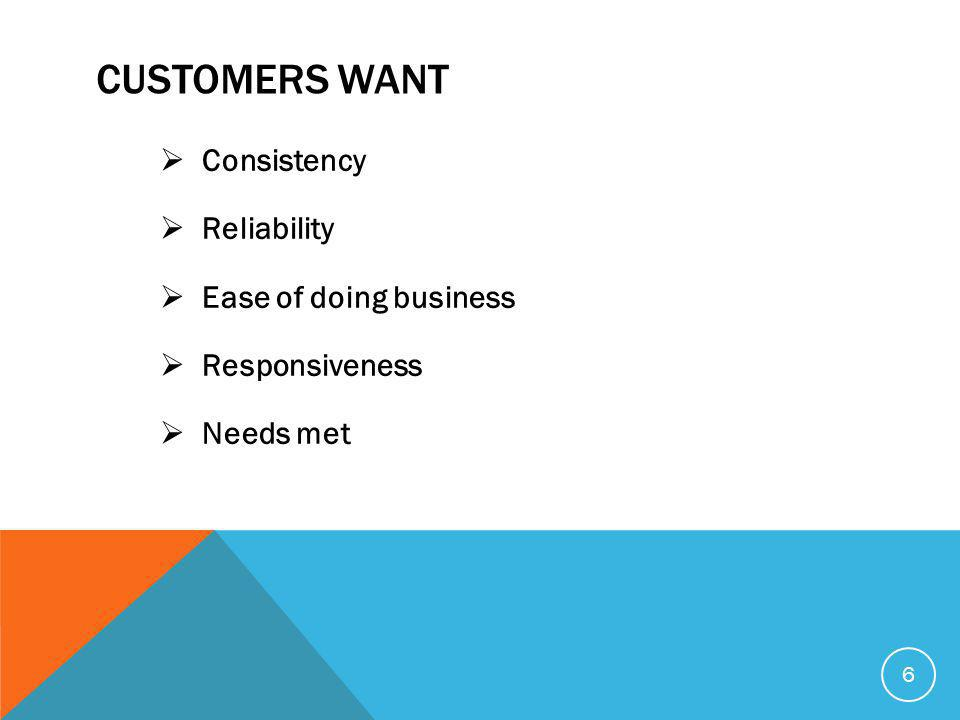 CUSTOMERS WANT  Consistency  Reliability  Ease of doing business  Responsiveness  Needs met 6
