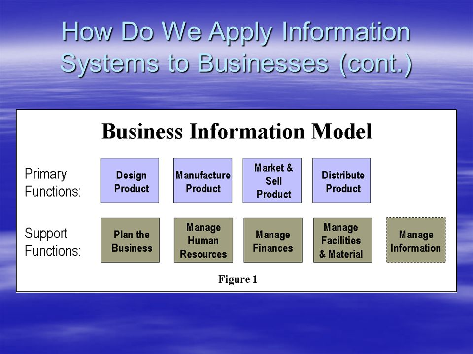 How Do We Apply Information Systems to Businesses (cont.)