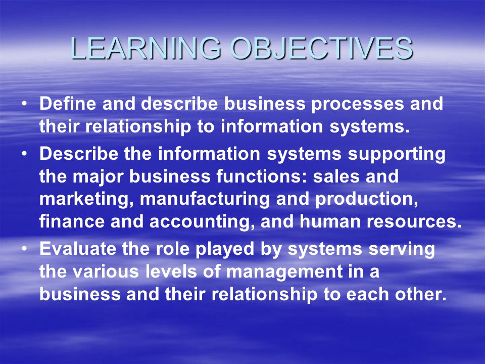 LEARNING OBJECTIVES Define and describe business processes and their relationship to information systems.