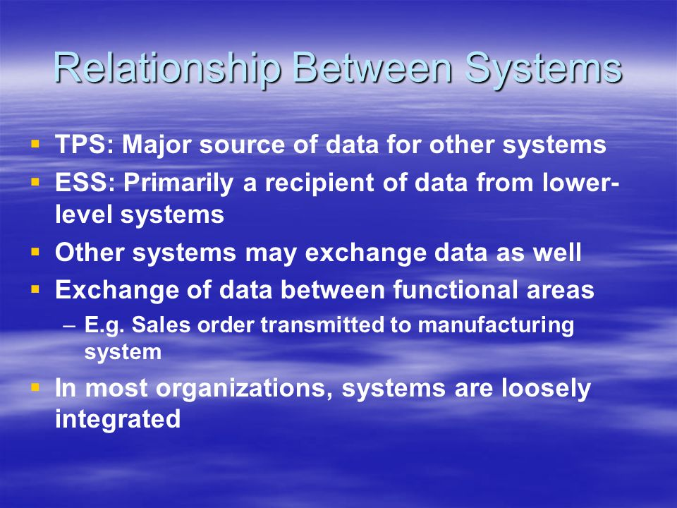 Relationship Between Systems   TPS: Major source of data for other systems   ESS: Primarily a recipient of data from lower- level systems   Other systems may exchange data as well   Exchange of data between functional areas – –E.g.