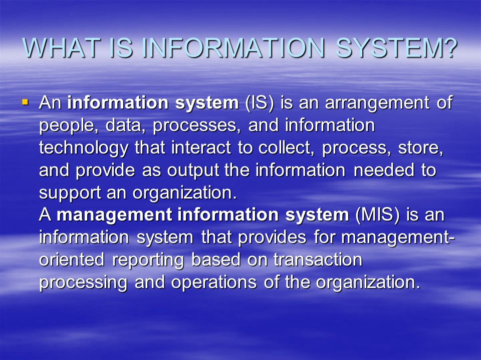  For Example (from previous slight): Transactions Processing System can be considered as raw material...