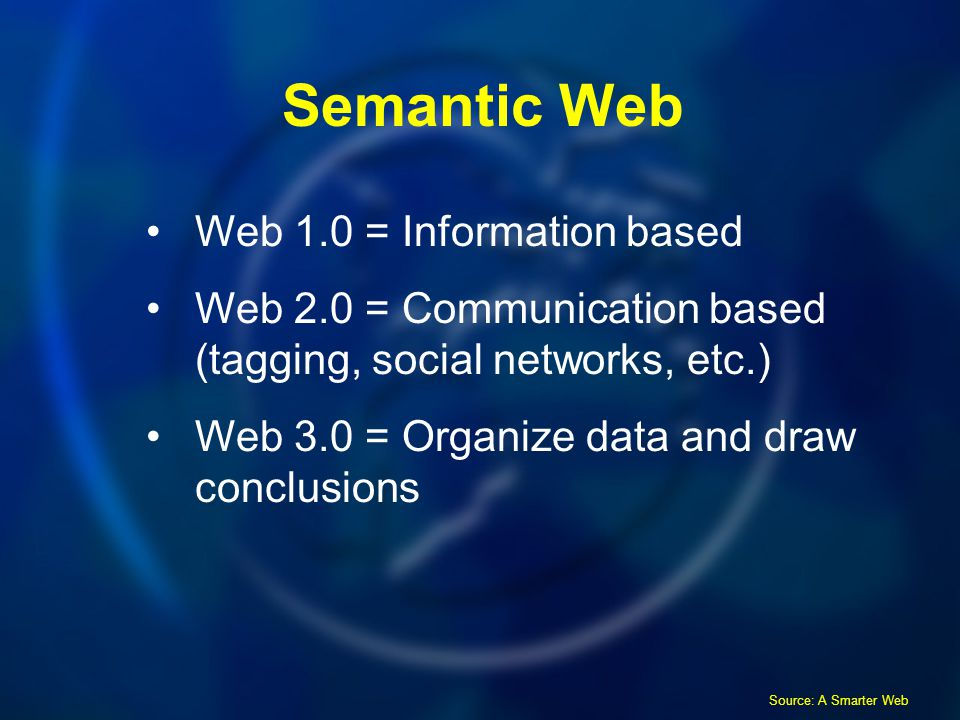 Semantic Web Web 1.0 = Information based Web 2.0 = Communication based (tagging, social networks, etc.) Web 3.0 = Organize data and draw conclusions Source: A Smarter Web