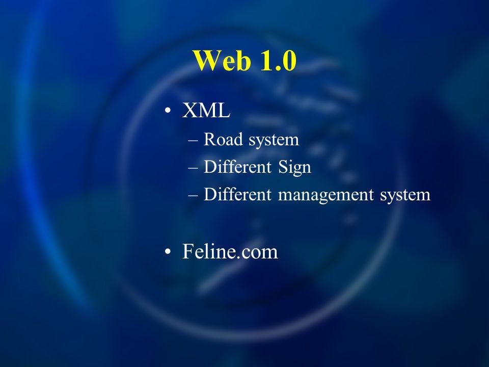 Web 1.0 XML –Road system –Different Sign –Different management system Feline.com
