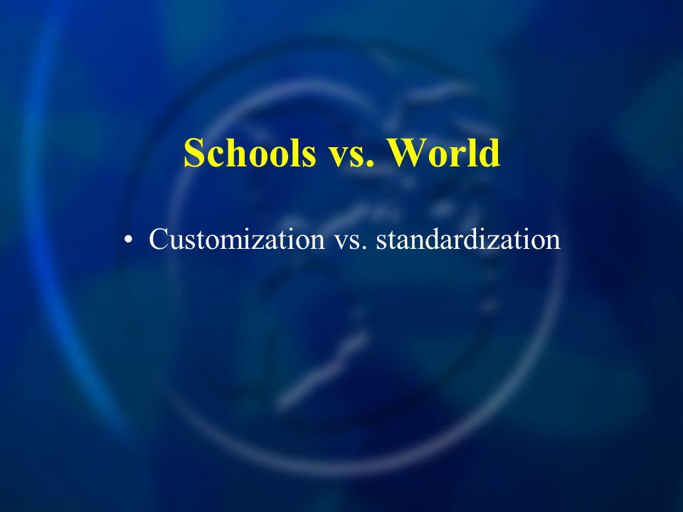 Schools vs. World Customization vs. standardization