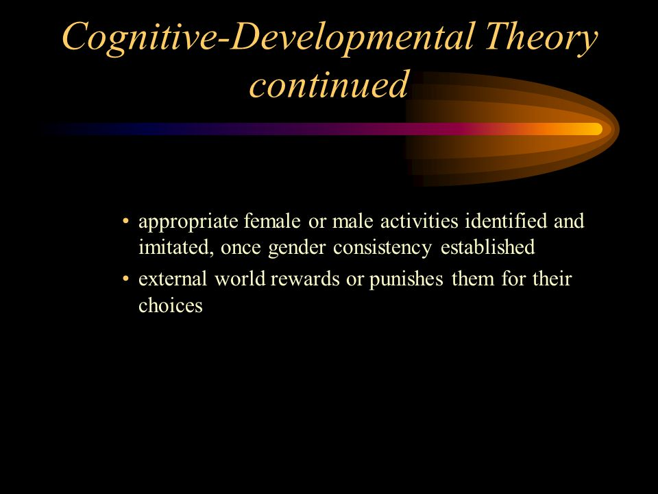 Cognitive-Developmental Theory continued appropriate female or male activities identified and imitated, once gender consistency established external w