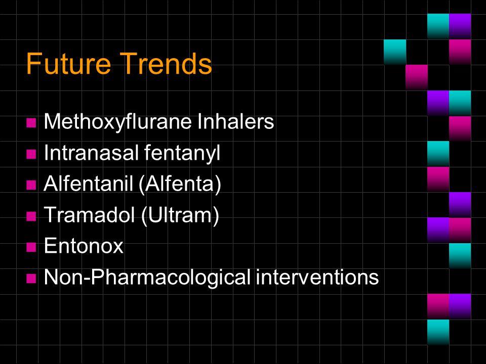 Future Trends n Methoxyflurane Inhalers n Intranasal fentanyl n Alfentanil (Alfenta) n Tramadol (Ultram) n Entonox n Non-Pharmacological interventions