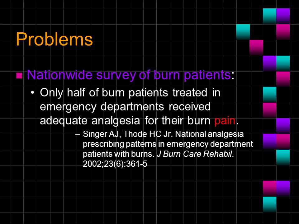 Problems n Nationwide survey of burn patients: Only half of burn patients treated in emergency departments received adequate analgesia for their burn