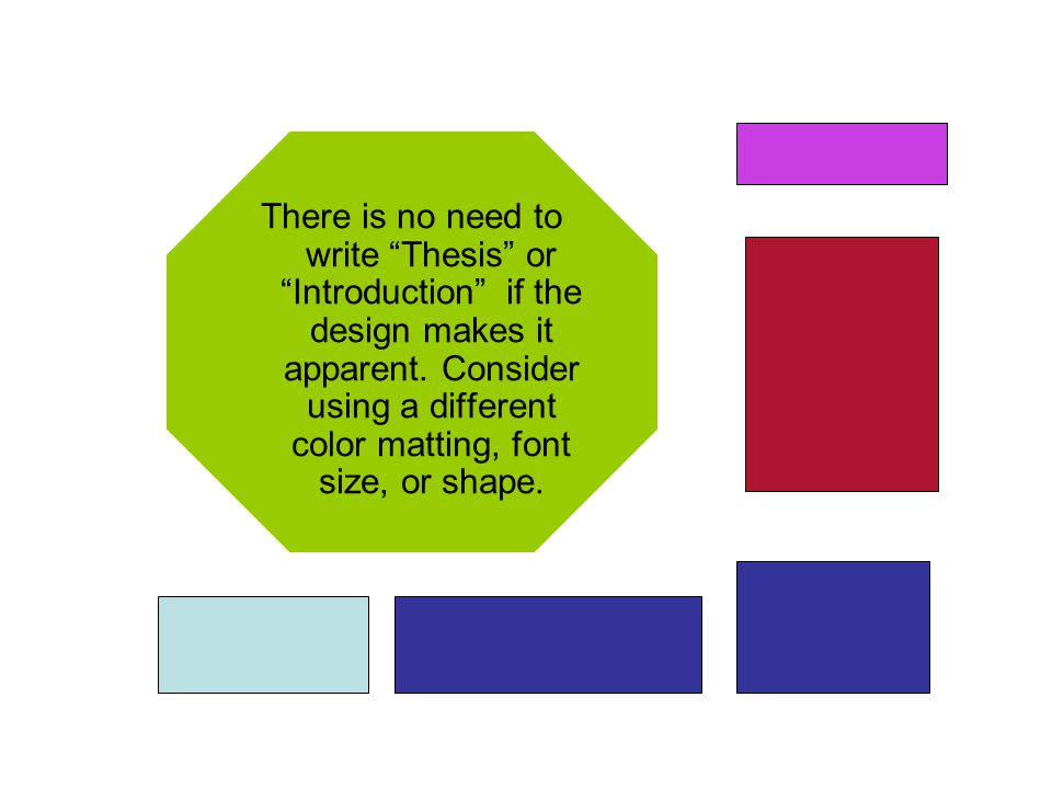 There is no need to write Thesis or Introduction if the design makes it apparent.