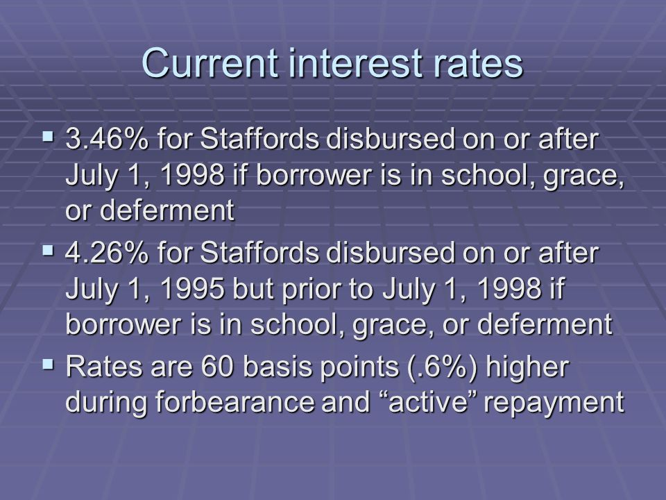 Current interest rates  3.46% for Staffords disbursed on or after July 1, 1998 if borrower is in school, grace, or deferment  4.26% for Staffords disbursed on or after July 1, 1995 but prior to July 1, 1998 if borrower is in school, grace, or deferment  Rates are 60 basis points (.6%) higher during forbearance and active repayment