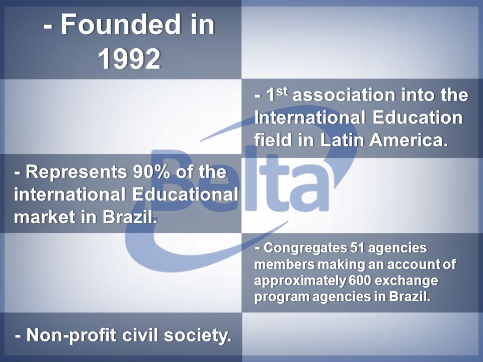- Founded in 1992 - 1 st association into the International Education field in Latin America. - Non-profit civil society.- Non-profit civil society. -