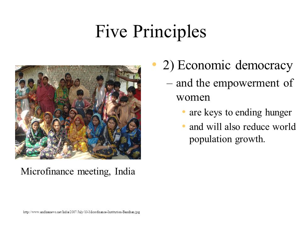 Five Principles 2) Economic democracy –and the empowerment of women are keys to ending hunger and will also reduce world population growth.