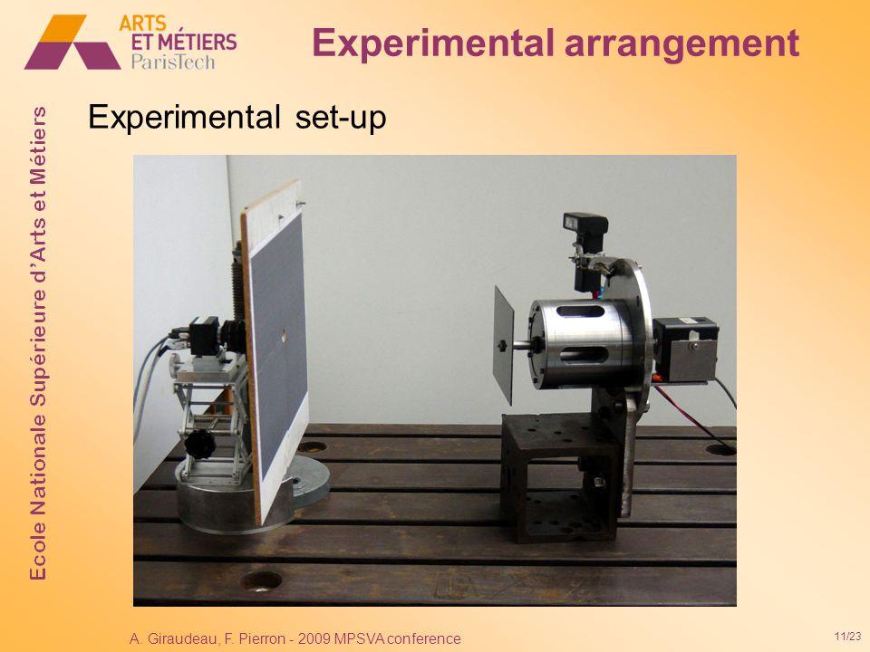 11/23 A. Giraudeau, F. Pierron - 2009 MPSVA conference Experimental set-up Experimental arrangement