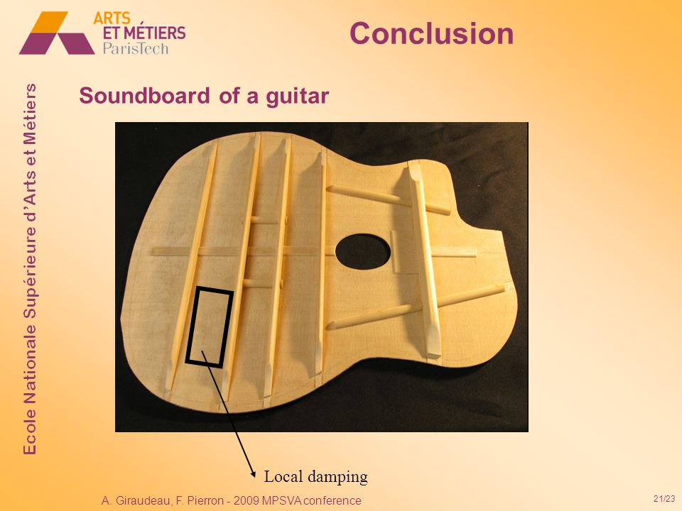21/23 A. Giraudeau, F. Pierron - 2009 MPSVA conference Conclusion Soundboard of a guitar Local damping