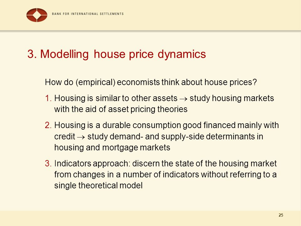 25 3. Modelling house price dynamics How do (empirical) economists think about house prices.
