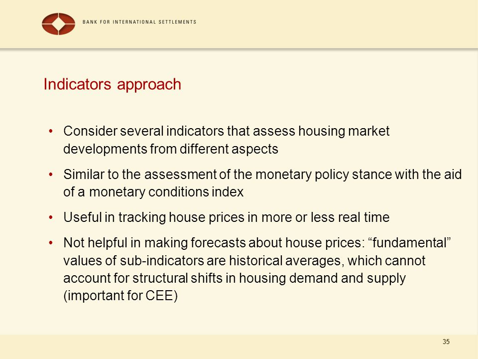 35 Indicators approach Consider several indicators that assess housing market developments from different aspects Similar to the assessment of the monetary policy stance with the aid of a monetary conditions index Useful in tracking house prices in more or less real time Not helpful in making forecasts about house prices: fundamental values of sub-indicators are historical averages, which cannot account for structural shifts in housing demand and supply (important for CEE)