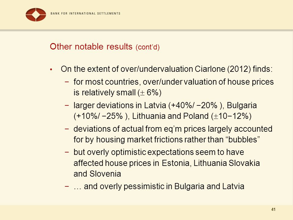 41 Other notable results (cont'd) On the extent of over/undervaluation Ciarlone (2012) finds: −for most countries, over/under valuation of house price