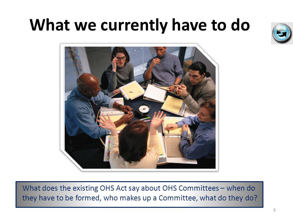 What we currently have to do What does the existing OHS Act say about OHS Committees – when do they have to be formed, who makes up a Committee, what