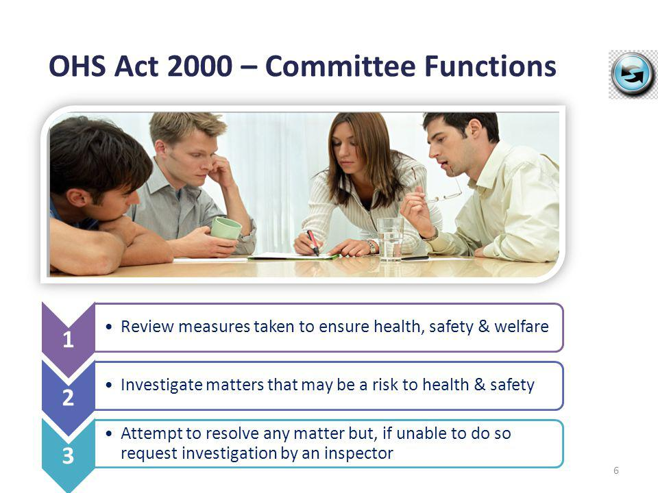 OHS Act 2000 – Committee Functions 6 1 Review measures taken to ensure health, safety & welfare 2 Investigate matters that may be a risk to health & s