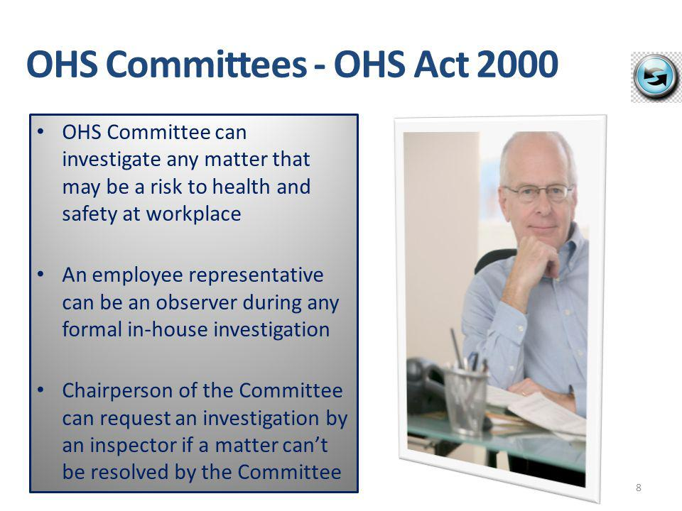 What WHS Act says PCBU's must do: PCBU must establish a health & safety committee within 2 months of being requested to do so by: – a HSR for the workgroup carrying out the work – 5 or more workers at the workplace – if required to do so by the regulation PCBU may establish a committee on their own initiative 9