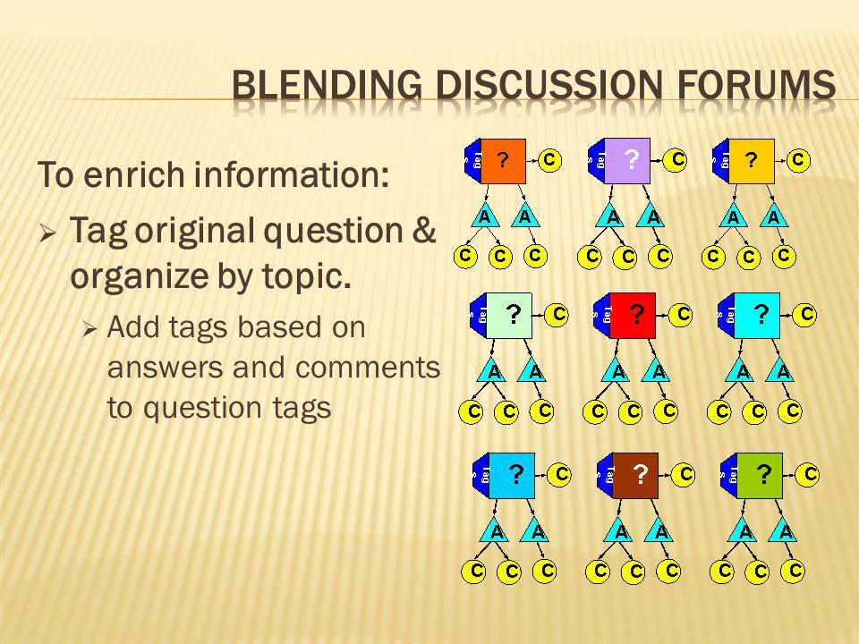 To enrich information:  Tag original question & organize by topic.  Add tags based on answers and comments to question tags