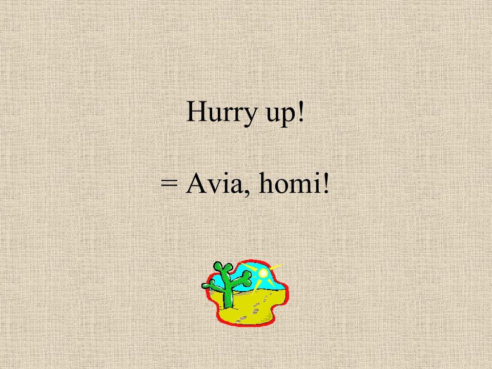 Hurry up! = Avia, homi!