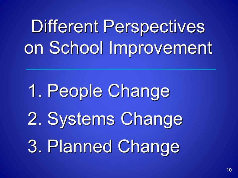 Different Perspectives on School Improvement 1.People Change 2.Systems Change 3.Planned Change 10
