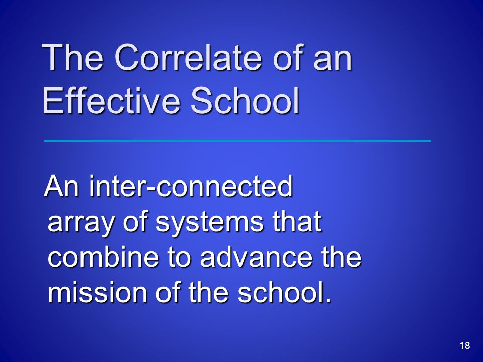 The Correlate of an Effective School An inter-connected array of systems that combine to advance the mission of the school.