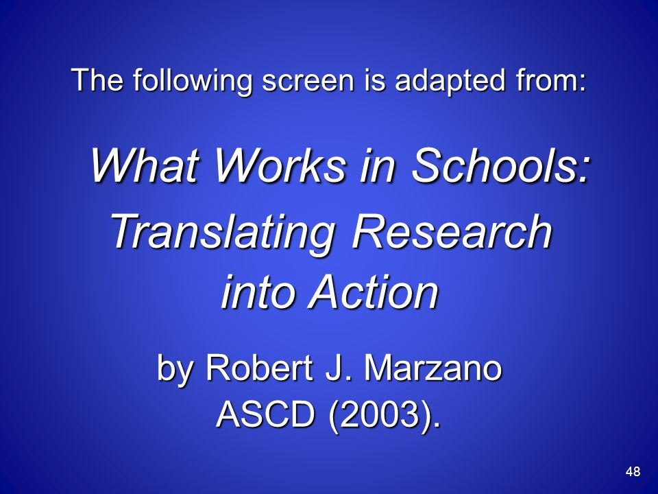 The following screen is adapted from: What Works in Schools: Translating Research into Action by Robert J.