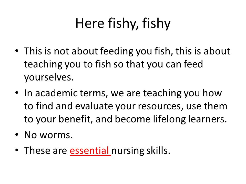 Here fishy, fishy This is not about feeding you fish, this is about teaching you to fish so that you can feed yourselves. In academic terms, we are te
