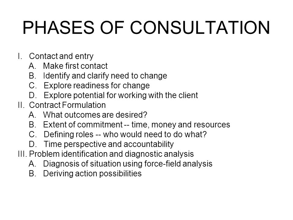 PHASES OF CONSULTATION, 2 IV.Goal setting and planning A.