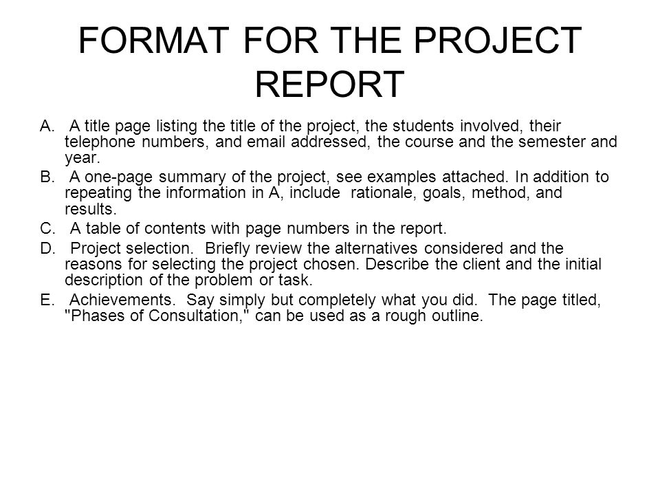 FORMAT FOR THE PROJECT REPORT A.