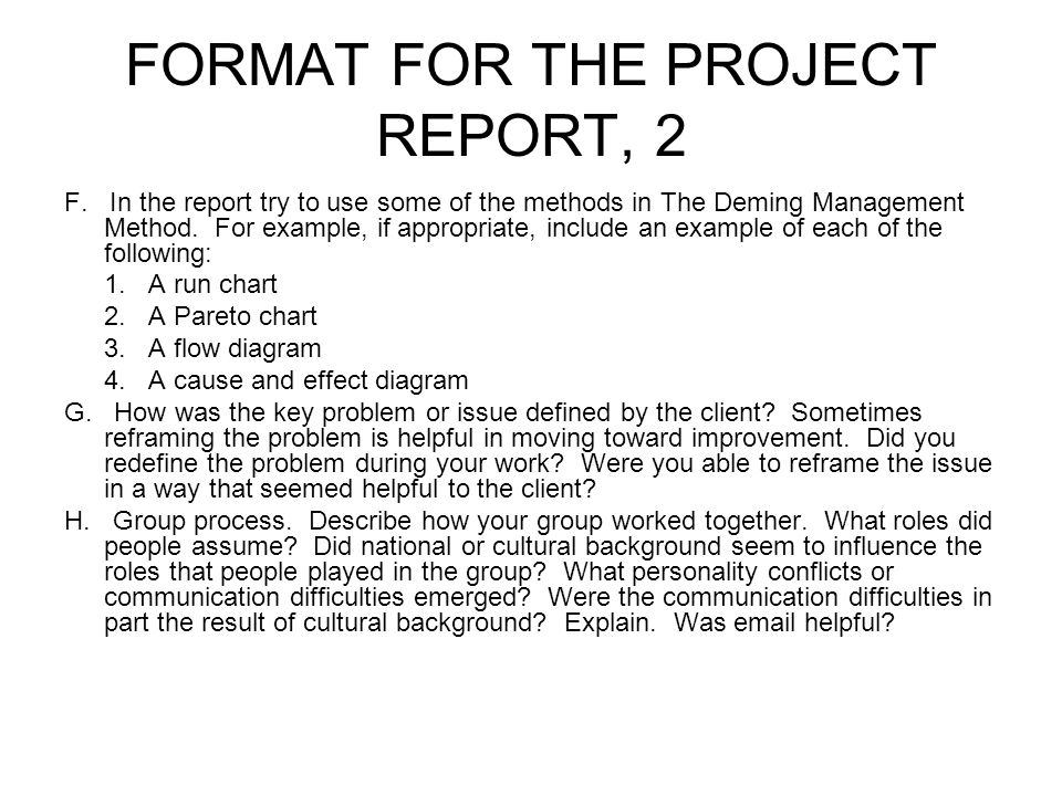 FORMAT FOR THE PROJECT REPORT, 2 F.