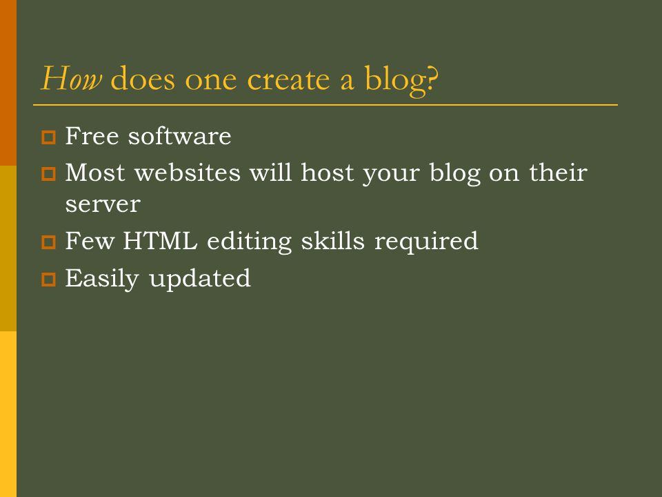 How does one create a blog.