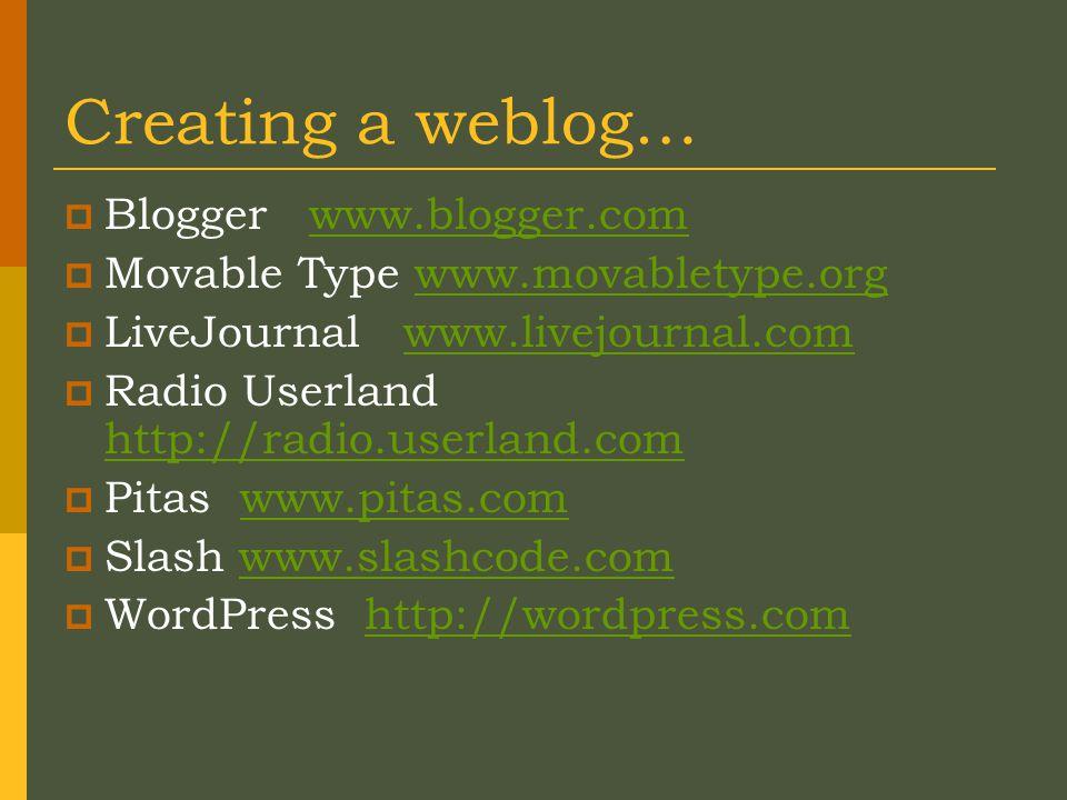 Creating a weblog…  Blogger www.blogger.comwww.blogger.com  Movable Type www.movabletype.orgwww.movabletype.org  LiveJournal www.livejournal.comwww