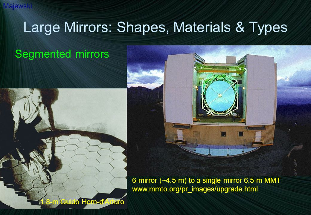 Large Mirrors: Shapes, Materials & Types Segmented mirrors Majewski 1.8-m Guido Horn-d Arturo 6-mirror (~4.5-m) to a single mirror 6.5-m MMT www.mmto.org/pr_images/upgrade.html