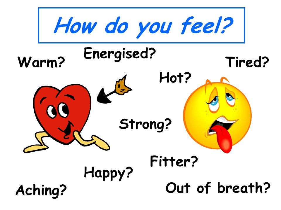 How do you feel Tired Energised Hot Out of breath Happy Warm Strong Aching Fitter