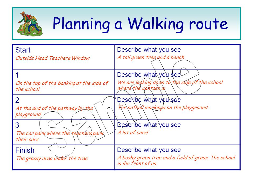 Planning a Walking route Start Outside Head Teachers Window Describe what you see A tall green tree and a bench 1 On the top of the banking at the side of the school Describe what you see We are looking down to the side of the school where the canteen is 2 At the end of the pathway by the playground Describe what you see The netball markings on the playground 3 The car park where the teachers park their cars Describe what you see A lot of cars.