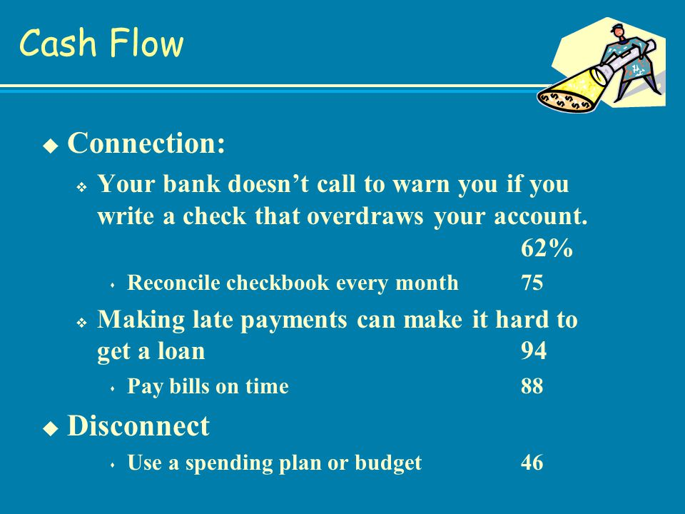 Cash Flow u Connection: v Your bank doesn't call to warn you if you write a check that overdraws your account.