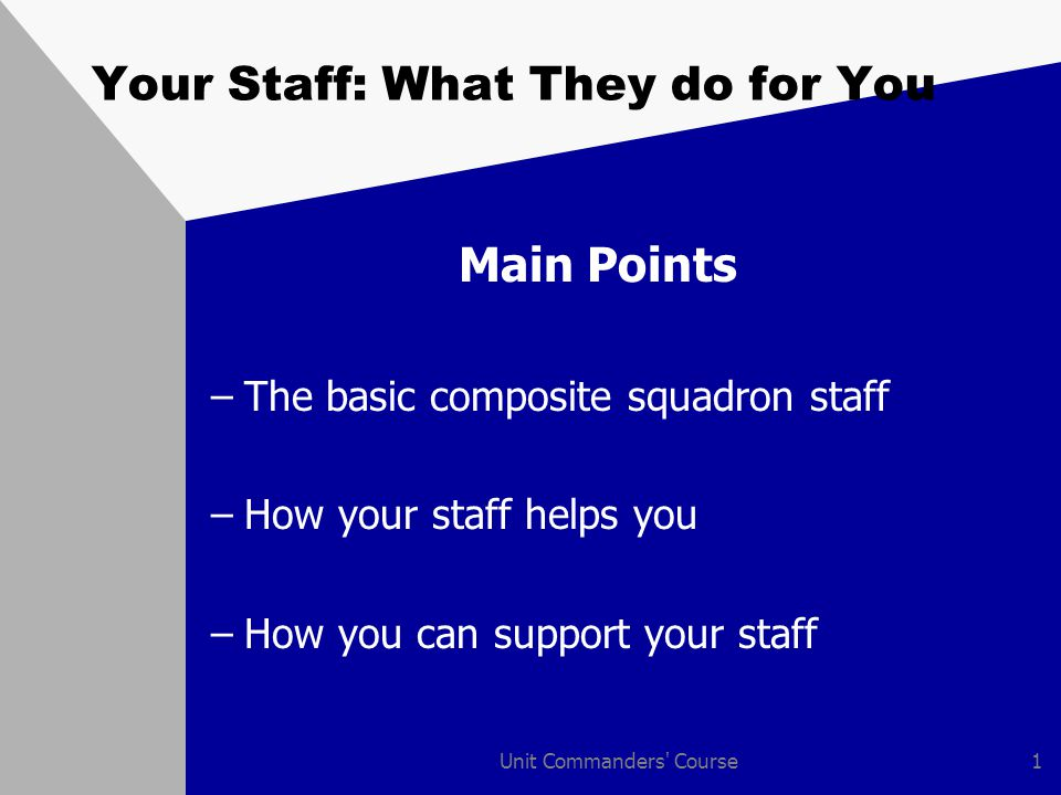 Unit Commanders Course1 Your Staff: What They do for You Main Points –The basic composite squadron staff –How your staff helps you –How you can support your staff