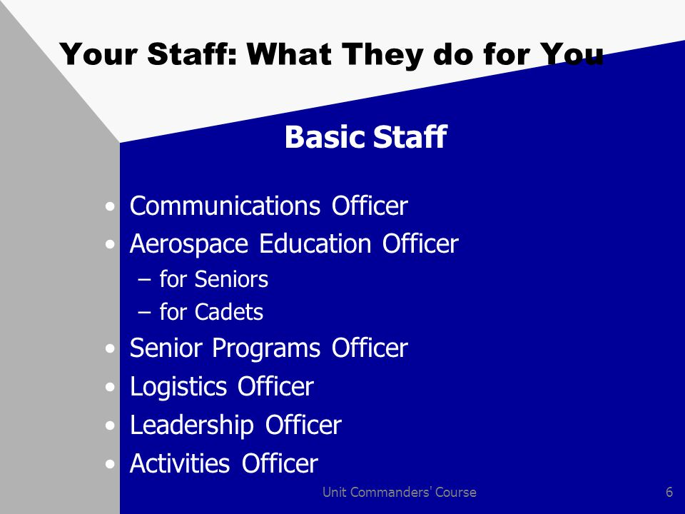 Unit Commanders Course7 Your Staff: What They do for You Basic Staff Special Staff Officers –Personnel –Recruiting –Legal –Finance –Medical –Testing –Historian